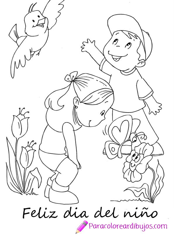 dibujo dia del niño para colorear