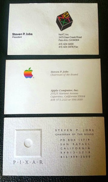 Steve Jobs Business Card, Apple, NeXT and Pixar