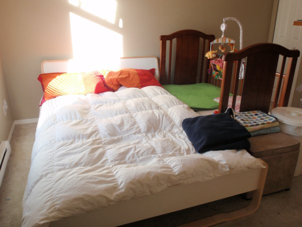 Inspirational Our side carred crib on the first day we set it up pillows and the white duvet removed at night of course