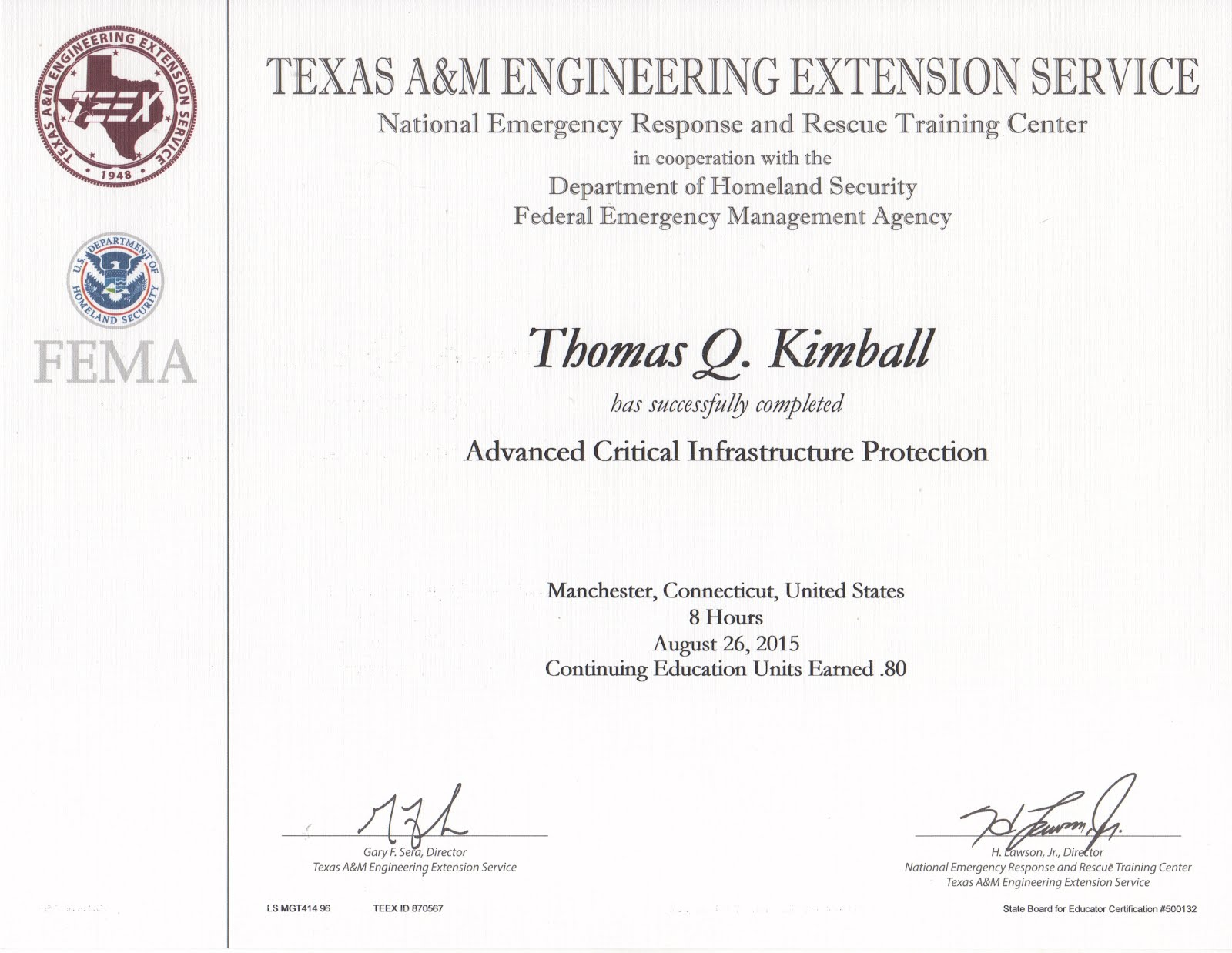 MGT-414 Advanced Critical Infrastructure Protection CIKR/ACIP Course
