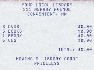 "Check-out receipt from ""Your Local Library"" totaling $0 cost"