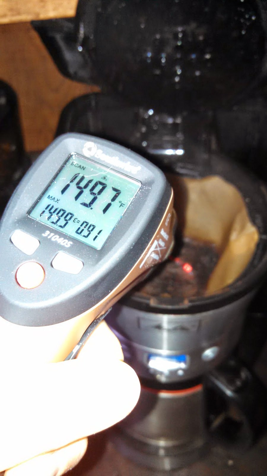 Measuring Brewing Temperature of Coffee- Coffee Grounds in the Filter Basket