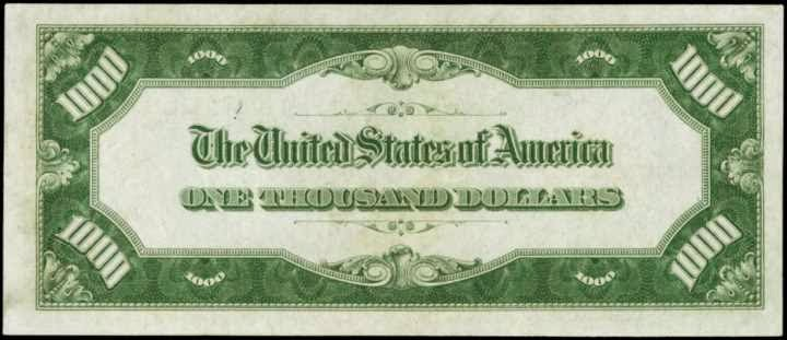 1928 $1000 Dollar Bill Gold Certificates