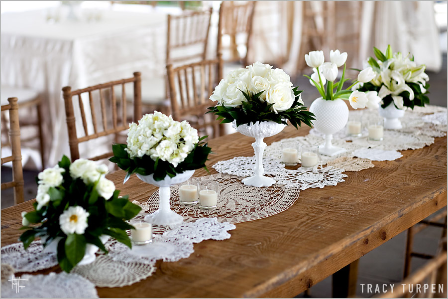 la fleur vintage lace doily table runners from ruffled blog