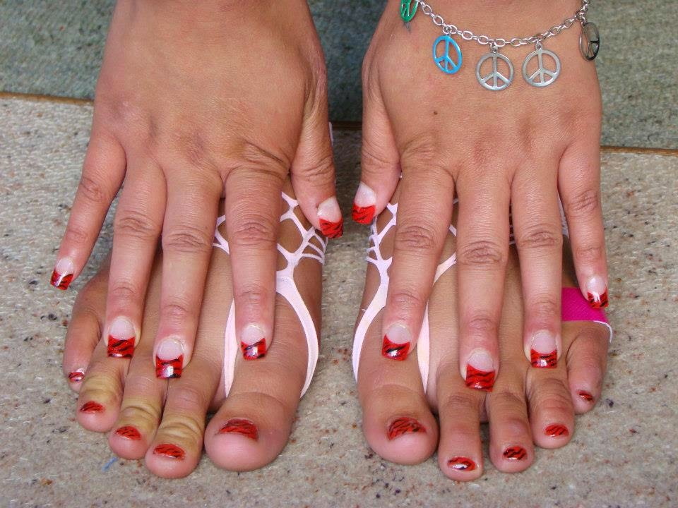 Acrylic-french-tip-fingers-and-matching-gel-manicure-pedicure-red-nails