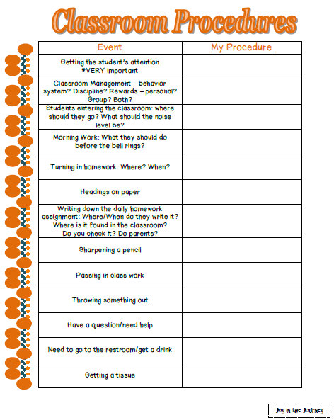 Classroom Design Checklist ~ Reviewing classroom procedures freebies joy in the