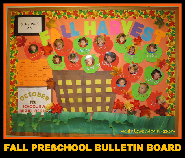 photo of: Preschool Bushel of Apples Bulletin Board with Photos of Children (via RainbowsWithinReach)