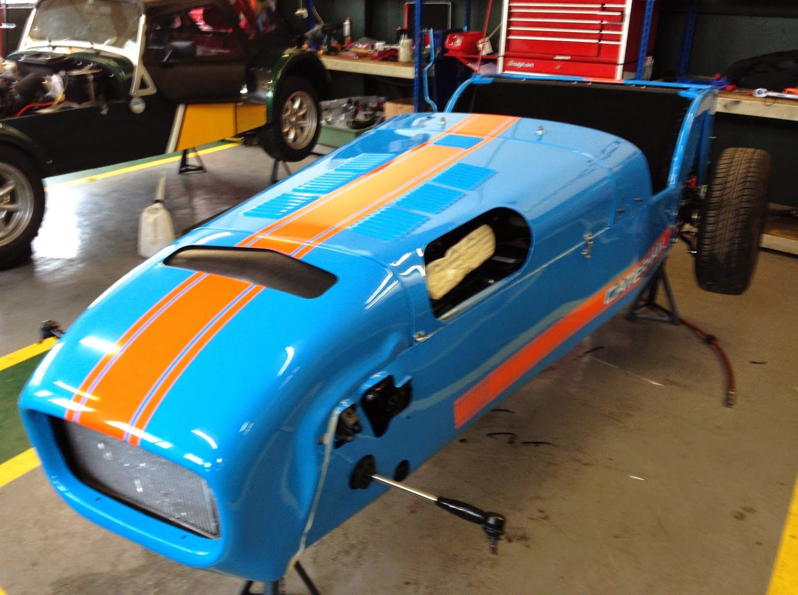 Caterham R500 looking very shiny, now with stone chip protection film and new triple stripe decals.