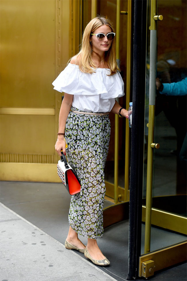 Olivia Palermo street fashion floral skirt white top