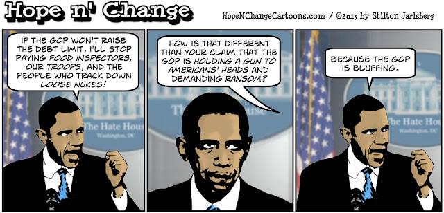 obama, obama jokes, conservative, tea party, stilton jarlsberg, hope and change, debt ceiling, gun, ransom, negotiations