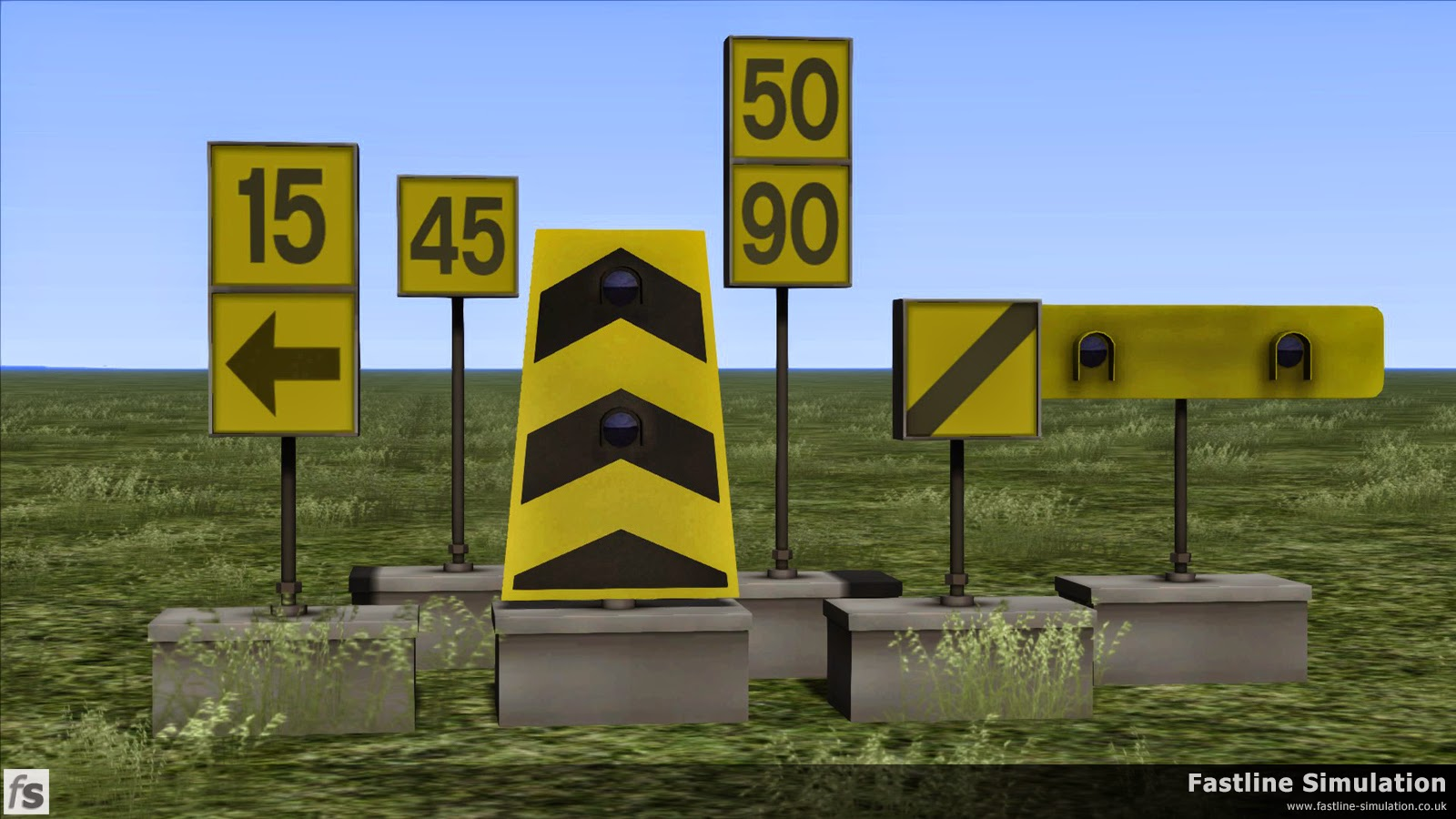 Fastline Simulation: A selection of early 1990's battery powered temporary speed restriction signs.