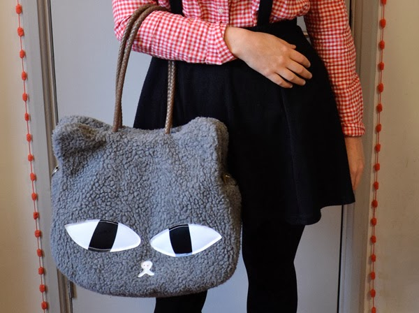 Valentine's Day outfit: red gingham shirt, suspender skirt with a fuzzy grey cat head/face hand bag from Ebay
