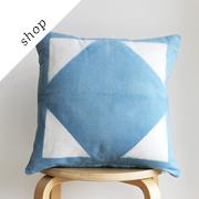 Indigo hand dyed shibori pillow by Rebecca Desnos on Etsy