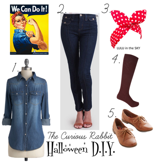poster and also takes a bit from the rosie the riveter magazine cover by norman rockwell mostly the socks and loafers - Rosie The Riveter Halloween Costume