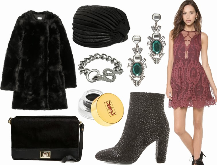 Iris & Ink fur ASOS turban Love & Lemons dress BaubleBar earrings Jean-Michel Cazabat booties