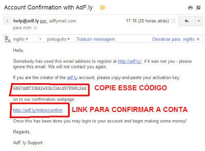 E-mail de confirmação de conta no AdF.ly
