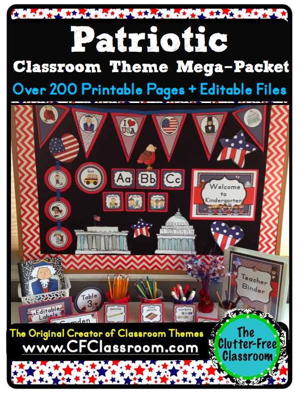 Click to access and download: Patriotic Theme printables}