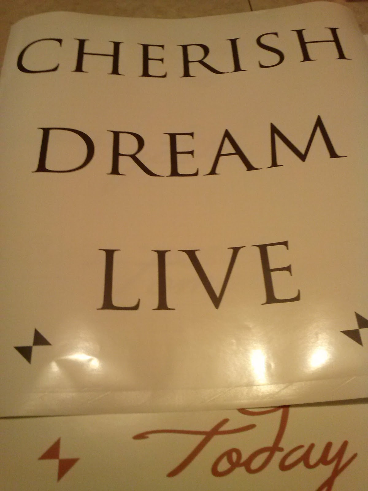 Cherish, Dream, Live vinyl wall decal