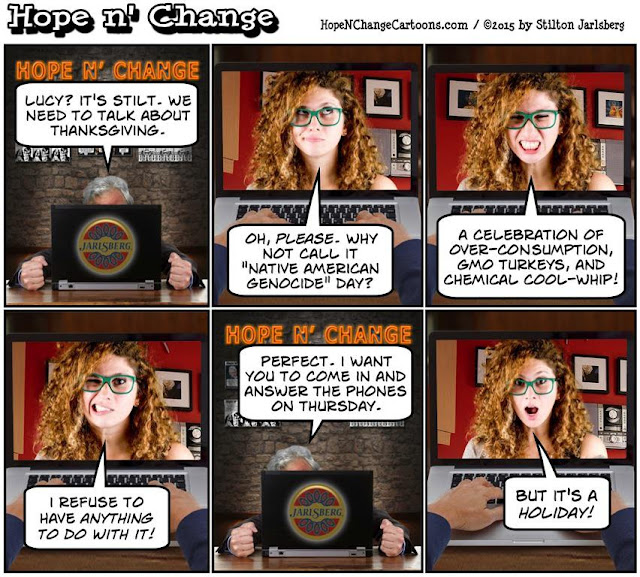 obama, obama jokes, political, humor, cartoon, conservative, hope n' change, hope and change, stilton jarlsberg, lefty lucy, thanksgiving