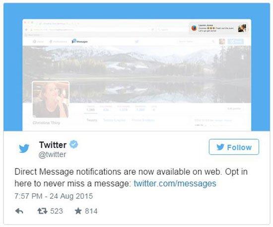 تويتر يطلق ميزة الحصول على إخطارات الرسائل على سطح المكتب