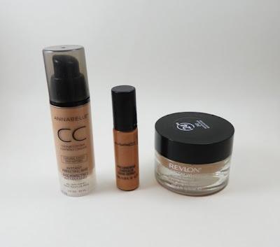 Annabelle CC Cream, MAC Pro Logwear, Revlon ColorStay Whipped Cream Foundation