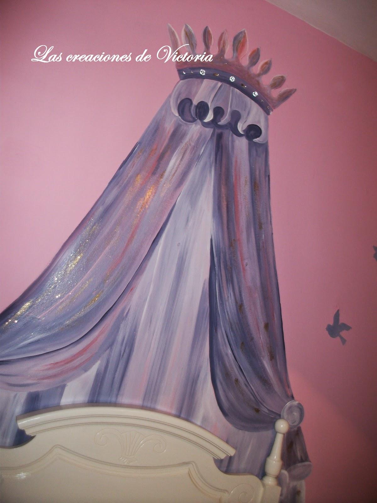 Las creaciones de Victoria,Pintar dosel. Redecorar muebles de madera.Pintura alzada corset.