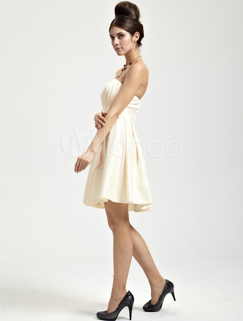 China Wholesale Clothes - Pretty Champagne Satin Knee Length Sweetheart Womens Cocktail Dress