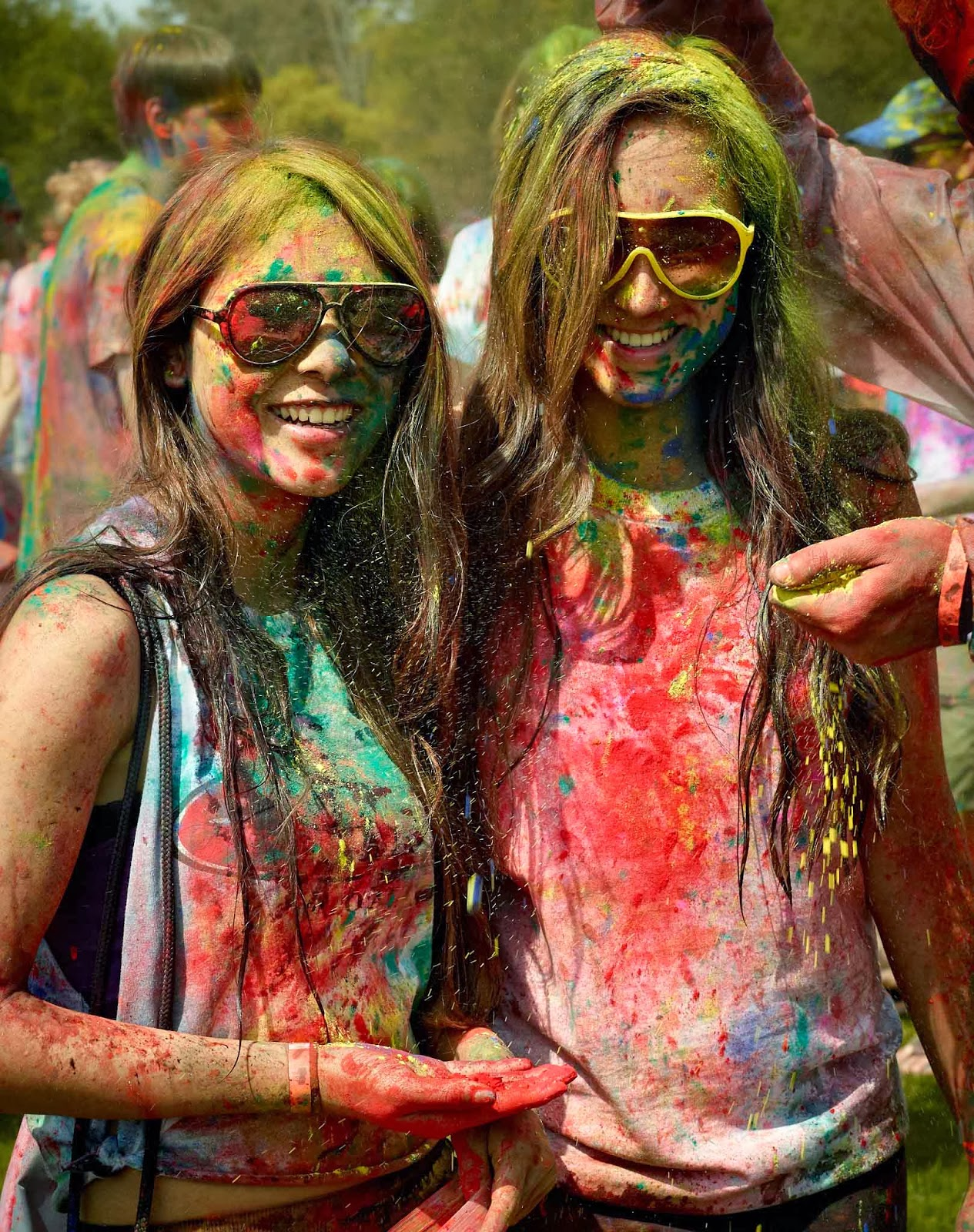 Sexy Smiling Girls Playing Holi