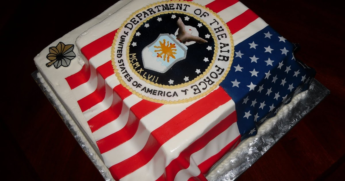 Cake concepts by cathy air force flag cakes labor of love for Air force cakes decoration