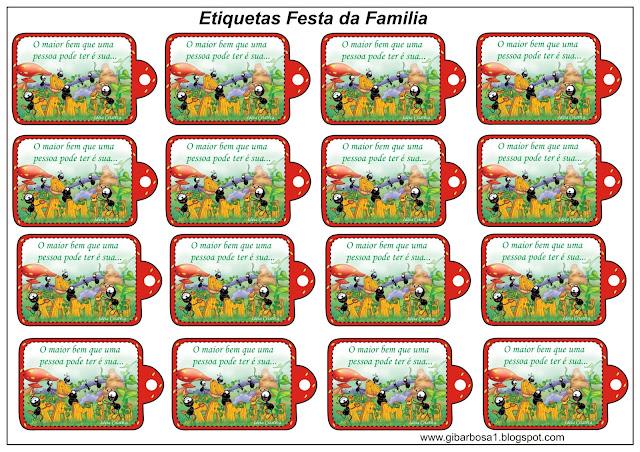 Etiquetas para Festa da Família com Smiliguido