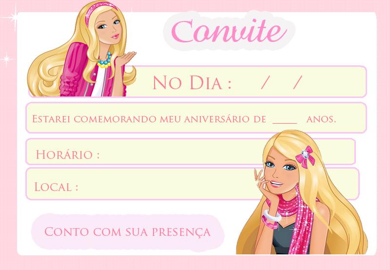 Convite Festa da Barbie
