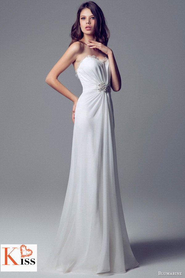 Simple Column 2014 Wedding Dresses Collection From Blumarine
