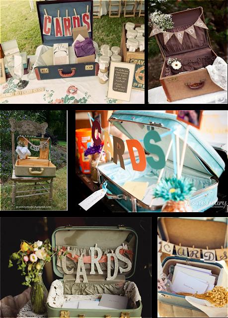 rincones de deseos y tarjetas con maletas antiguas
