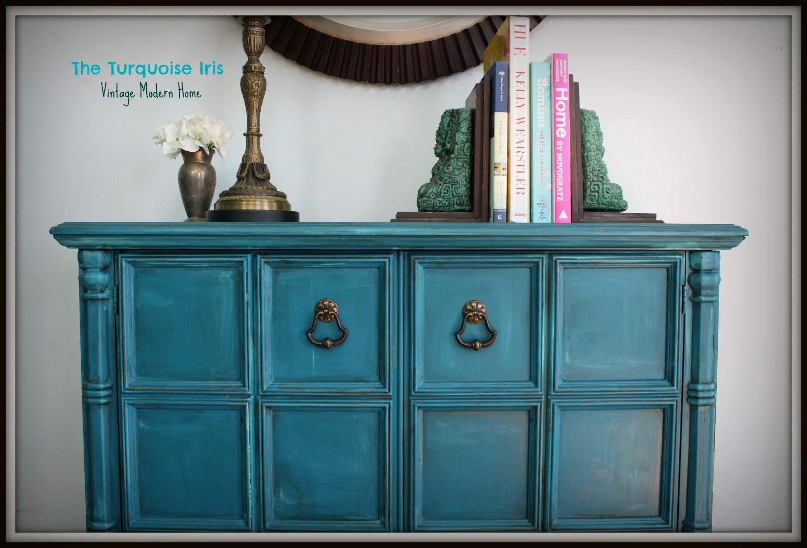 The turquoise iris furniture art teal vintage foyer table - Table vitroceramique 2 foyers ...