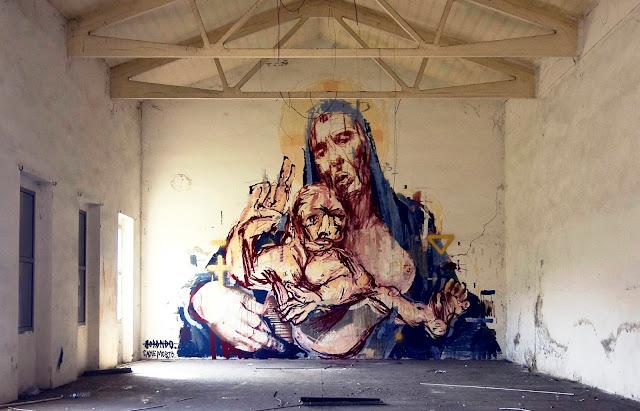 Street Art Collaboration By Borondo And Cane Morto In Bologna, Italy.