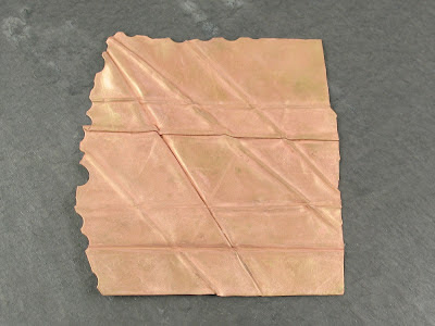 Peachy-Pink Cu Layer on Fold Formed Brass