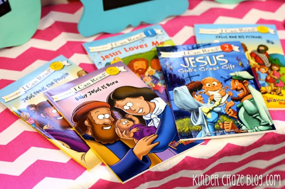 """I Can Read"" books about Jesus in a kindergarten classroom"