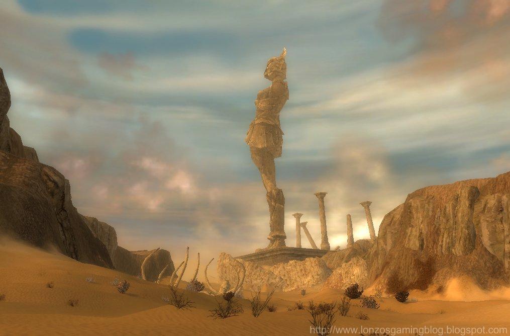 Guild+Wars+The+Lonely+Vigil+Bridge+female+warrior+Arid+Sea+Elona+desert+massive+giant+crystal+land+mark+landmark.jpg