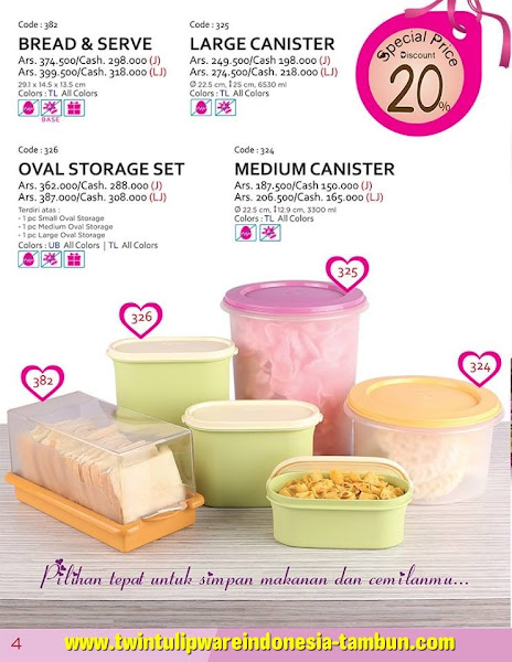 Promo Diskon Tulipware Februari 2016, Bread Serve, Large Canister, Oval Storage Set