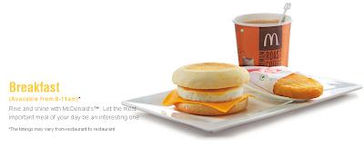 McDonald's Breakfast Menu served from 8-11 am