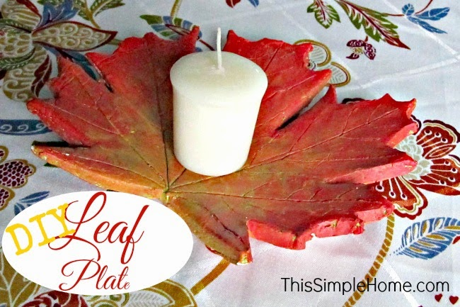 DIY leaf plate from air-dry clay. A colorful autumn craft for adults or children. Great to hold candles or jewelry.
