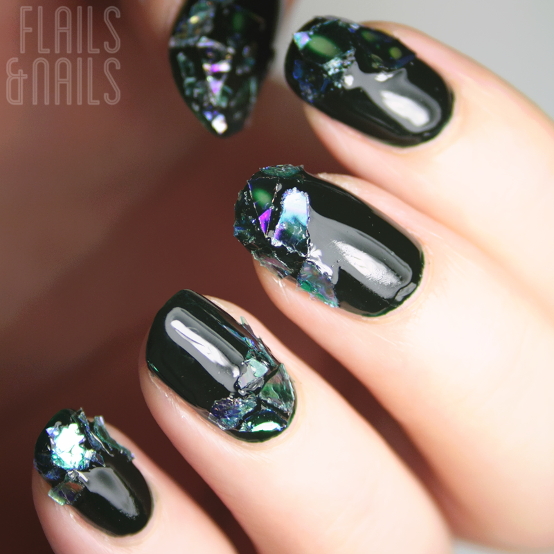 Festive Shatteredbroken Glass Nail Art Feat Barry M Black