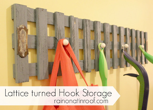 Lattice turned Hook Storage {rainonatinroof.com} #lattice #organize #storage