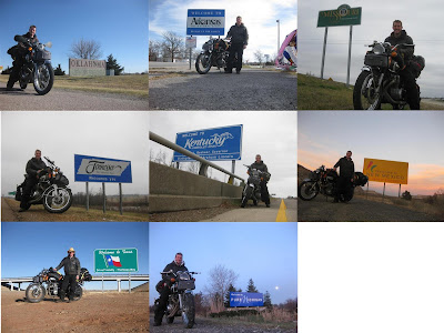 Cross country motorcycle trip, USA, State Border Sign, texas, tennessee, michigan, oklahoma, kentucky