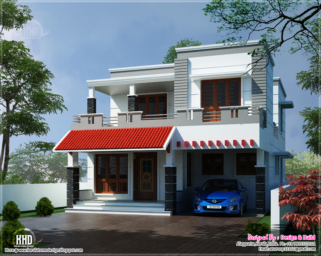 Modern 4 bedroom house with balcony elevation in 2700 sq for Elevation of kerala homes