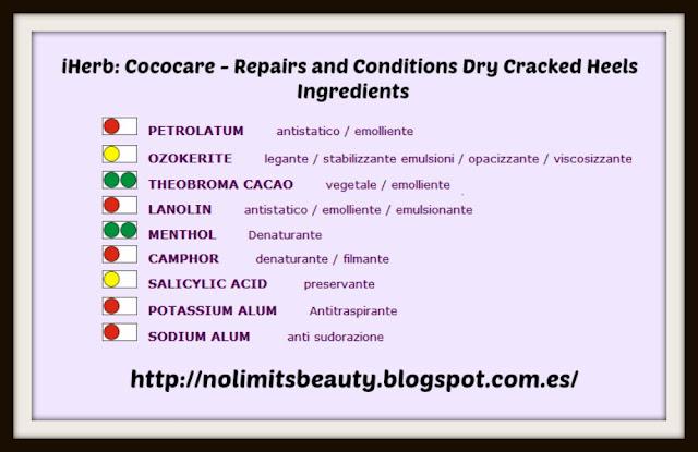 iHerb: Cococare - Repairs and Conditions Dry Cracked Heels - ingredientes según el Biodizionario