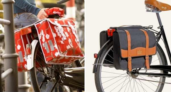 Accesorios para bicicleta urbana: alforjas estampadas o clásicas.