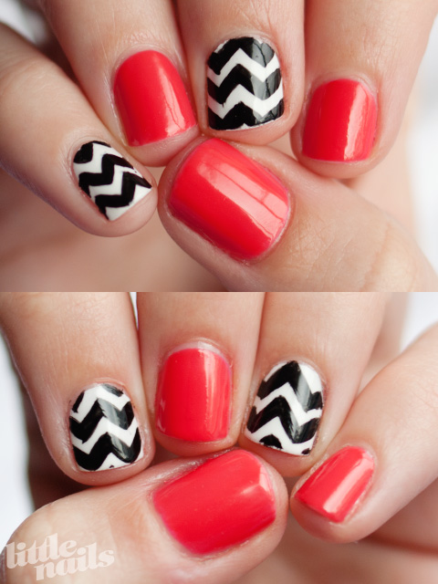 Pink and Chevron Manicure via Little Nails