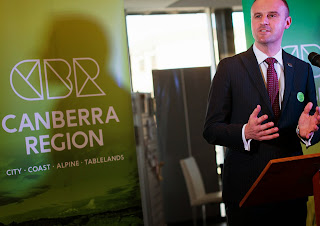 Chief Minister Andrew Barr speaking at the launch of Canberra Region