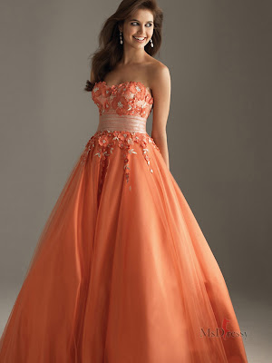 strapless-orange-cheap prom-dresses